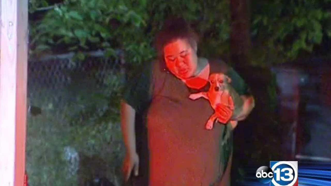 A woman and her daughter were inside the house along with their Chihuahua named Gizmo.