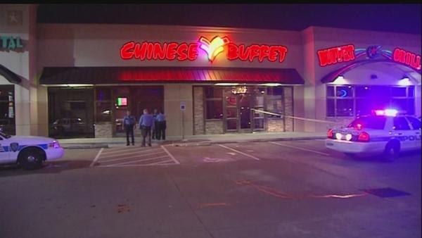 Man shot outside restaurant drives family to safety