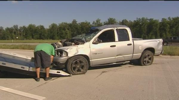 Pickup rolls 6 times in northeast Harris County