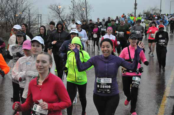 Tens of thousands of runners braved the rain and cold temperatures on the Elysian Viaduct for the Chevron Houston Marathon and Aramco Houston Half Marathon on Sunday, January 13, 2013. <span class=meta>(KTRK Photo)</span>
