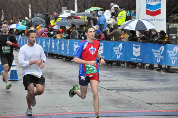 Tens of thousands of wet and cold runners crossed the finish line for the Chevron Houston Marathon and Aramco Houston Half Marathon on Sunday, January 13, 2013. <span class=meta>(KTRK Photo)</span>
