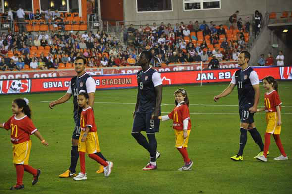 Fans rallied behind the U.S. men&#39;s national soccer team as they battled Canada at BBVA Compass Stadium on Tuesday, January 29, 2013. <span class=meta>(KTRK Photo)</span>