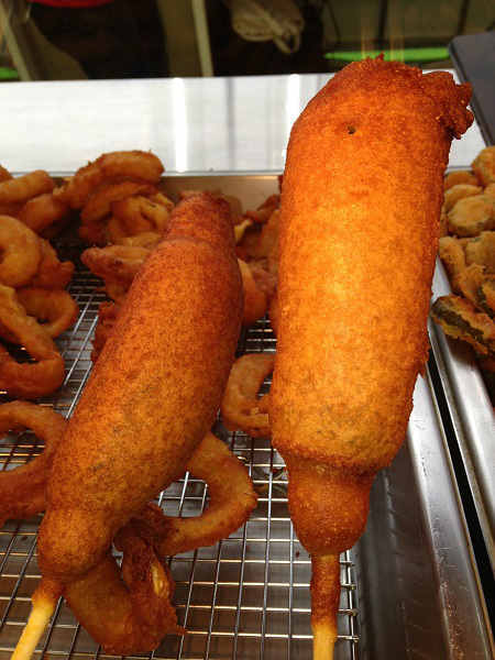 Fried pickle corndog: Brand new this year and the cooks aren&#39;t sure on its calories <span class=meta>(KTRK Photo)</span>