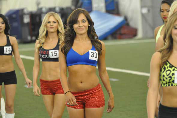 The 51 Houston Texans Cheerleader finalists practiced their moves Monday night inside the bubble at Reliant.  <span class=meta>(KTRK Photo)</span>