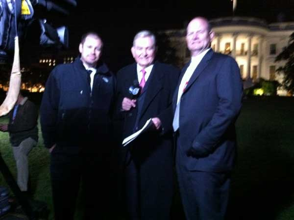 "<div class=""meta ""><span class=""caption-text "">Here is a picture of my crew at the White House. To my left is VP of News David Strickland. And to my right is Photographer Charles Fisher. </span></div>"