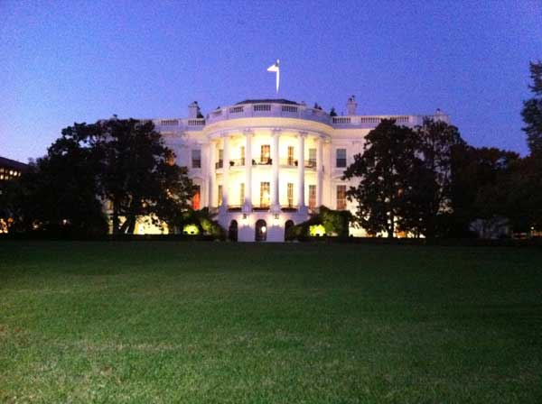 The lights are on at the white house and it's a gorgeous view! Tonight at 10, I will talk to the president about NASA  and we got a surprise visit from a shuttle astronaut.