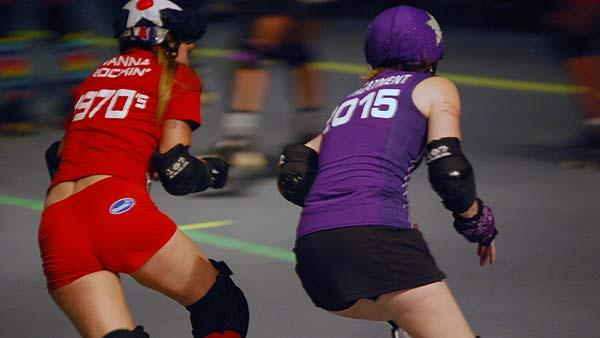 A high-energy, drama-heavy, double header Summer Slaughter bout was held at the Verizon Wireless Theater in downtown Houston on Sunday, June 8, 2008.  The Machete Betties had a huge upset over the Psych Ward Sirens in a match-up between Houston teams, and Houstons Burlesque Brawlers bested the Bombshell Brigade from Dallas.  (Photo: Gina Larson)
