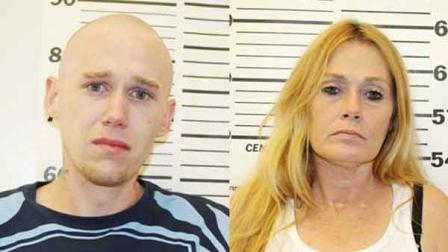 Travis Edwin Huffman, and his mother, 43-year-old Kimberly Butterbean Meadows, were arrested after an officer accidentally received a text message allegedly detailing a drug deal.
