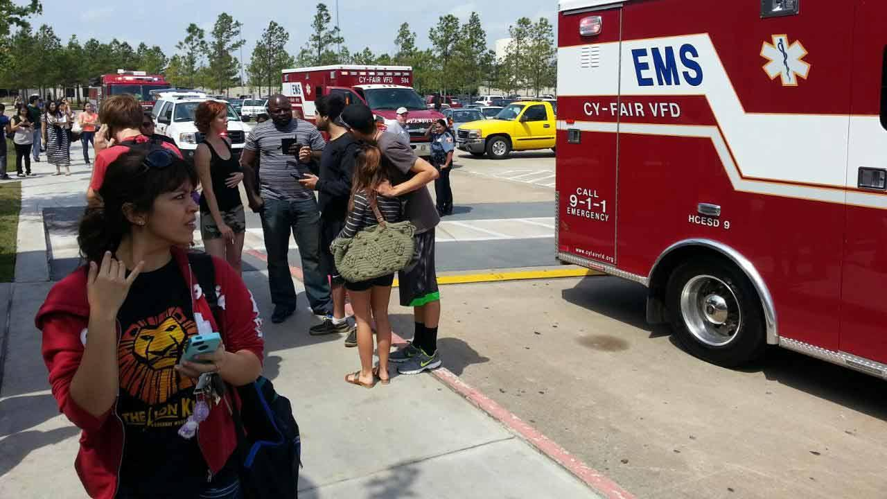 This photo comes from Lone Star College, where more than a dozen people were injured during a stabbing on campus Tuesday. <span class=meta>(Miya Shay)</span>