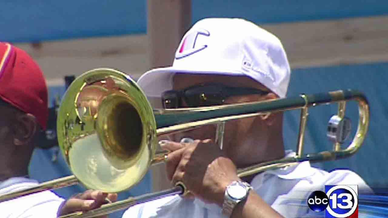 A man plays the trombone during the annual Juneteenth Parade and African-American Festival in Galveston