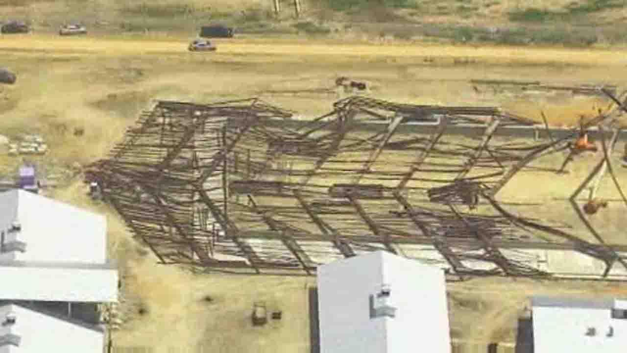 SkyEye13 HD was over the scene of a barn collapse in College Station where four people were injured