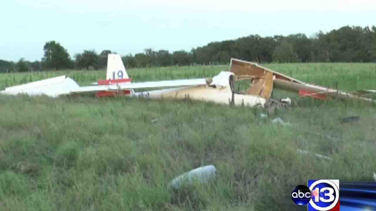 Officials said the pilot of this glider was seriously injured when it lost power and crashed in Navasota