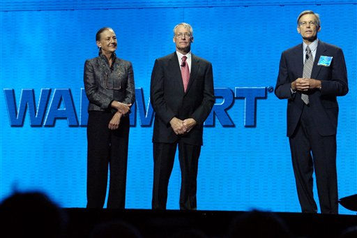 #7, 8 and 9 on Forbes list are Jim, Alice and Rob Walton, respectively: Alice Walton, left, Rob Walton, center, and Jim Walton, right, children of Wal Mart Stores Inc. founder the late Sam Walton, speak on stage during the annual Wal Mart shareholder&#39;s meeting in Fayetteville, Arkansas, on Friday, June 6, 2008. &#40;AP Photo&#47;April L. Brown&#41; <span class=meta>(AP Photo&#47; April L. Brown)</span>