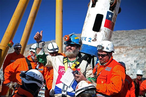 In this photo released by the Chilean government, miner Jorge Galeguillos gives a thumbs up after being rescued from the collapsed San Jose gold and copper mine where he had been trapped with 32 other miners for over two months near Copiapo, Chile, Wednesday, Oct. 13, 2010.  &#40;AP Photo&#47;Hugo Infante, Chilean government&#41; <span class=meta>(AP Photo&#47; Hugo Infante)</span>