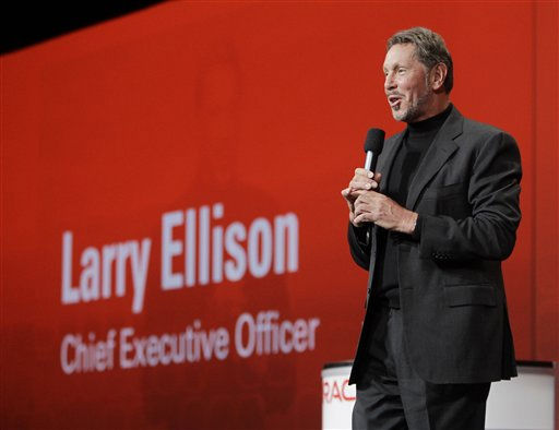 #3 on Forbes list is Larry Ellison: Oracle Corp. CEO Larry Ellison delivers a keynote address, Wednesday, Sept. 22, 2010, at Oracle World in San Francisco. &#40;AP Photo&#47;Paul Sakuma&#41; <span class=meta>(AP Photo&#47; Paul Sakuma)</span>