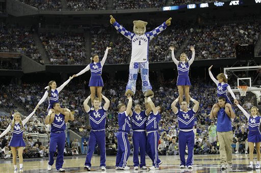 Kentucky  cheerleaders perform during the second half of a men&#39;s NCAA Final Four semifinal college basketball game against Connecticut Saturday, April 2, 2011, in Houston. &#40;AP Photo&#47;Eric Gay&#41; <span class=meta>(AP Photo&#47; Eric Gay)</span>