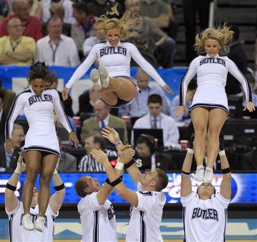 Butler cheerleaders perform during the second half of a men&#39;s NCAA Final Four semifinal college basketball game against Virginia Commonwealth Saturday, April 2, 2011, in Houston. &#40;AP Photo&#47;Mark Humphrey&#41; <span class=meta>(AP Photo&#47; Mark Humphrey)</span>