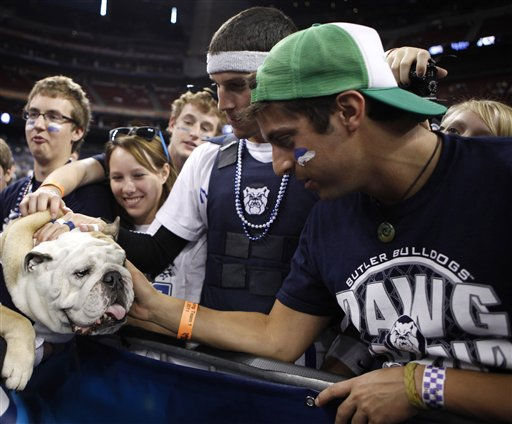 Butler students pet their school mascot Butler Blue II before a men&#39;s NCAA Final Four semifinal college basketball game between Butler and Virginia Commonwealth Saturday, April 2, 2011, in Houston. &#40;AP Photo&#47;Charlie Neibergall&#41; <span class=meta>(AP Photo&#47; Charlie Neibergall)</span>