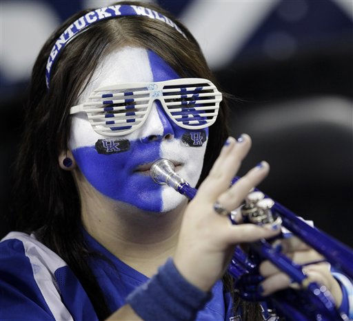 A Kentucky band member plays during the first half of a men&#39;s NCAA Final Four semifinal college basketball game against Connecticut Saturday, April 2, 2011, in Houston. &#40;AP Photo&#47;Charlie Neibergall&#41; <span class=meta>(AP Photo&#47; Charlie Neibergall)</span>