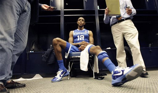 Kentucky&#39;s Brandon Knight is interviewed in the locker room after his team lost 56-55 to Connecticut at a men&#39;s NCAA Final Four semifinal college basketball game Saturday, April 2, 2011, in Houston. &#40;AP Photo&#47;David J. Phillip&#41; <span class=meta>(AP Photo&#47; David J. Phillip)</span>