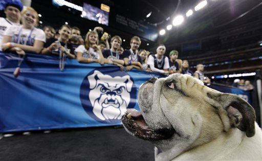 "<div class=""meta ""><span class=""caption-text "">Butler Blue II sits in front of the Butler student section before a men's NCAA Final Four semifinal college basketball game between Butler and Virginia Commonwealth Saturday, April 2, 2011, in Houston. (AP Photo/David J. Phillip) (AP Photo/ David J. Phillip)</span></div>"
