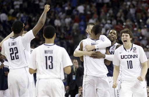 Connecticut reacts after beating Kentucky 56-55 at a men&#39;s NCAA Final Four semifinal college basketball game Saturday, April 2, 2011, in Houston. &#40;AP Photo&#47;Charlie Neibergall&#41; <span class=meta>(AP Photo&#47; Charlie Neibergall)</span>