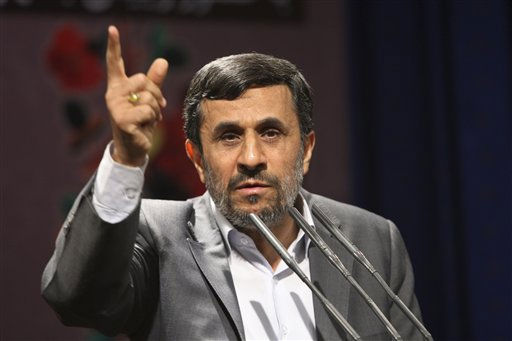 Iranian President Mahmoud Ahmadinejad, gestures, as he delivers his speech, after unveiling a five-volume book set containing &#34;Documents on the Allied Occupation of Iran during World War II&#34;, at the presidency compound in Tehran, Iran, Wednesday, July 20, 2011. Ahmadinejad last year ordered the formation of a team to study the damages the country suffered from the 1941 Allied invasion in order to demand compensation. Britain and the Soviet Union invaded Iran on August 26, 1941, codenamed &#34;Operation Countenance&#34; to secure Iranian oil fields and ensure supply lines for the Soviets fighting Axis forces.   <span class=meta>(AP Photo&#47; Vahid Salemi)</span>