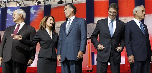 Republican presidential candidates, from left, former House Speaker Newt Gingrich, Rep. Michele Bachmann, R-Minn., former Massachusetts Gov. Mitt Romney, Texas Gov. Rick Perry, and Rep. Ron Paul, R-Texas., stand together before a Republican presidential candidate debate at the Reagan Library Wednesday, Sept. 7, 2011, in Simi Valley, Calif.   <span class=meta>(AP Photo&#47; Chris Carlson)</span>