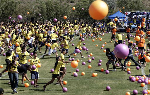 "<div class=""meta image-caption""><div class=""origin-logo origin-image ""><span></span></div><span class=""caption-text"">NO. 10: IRVINE, CA -- UC Irvine students play dodgeball in an attempt to set the Guinness world record for the largest dodgeball game in Irvine, California. (AP Photo/ Jae C. Hong)</span></div>"