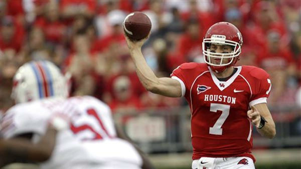 "<div class=""meta ""><span class=""caption-text "">Houston quarterback Case Keenum (7) throws a pass during the first quarter of an NCAA college football game against SMU, Saturday, Nov. 19, 2011, in Houston. (AP Photo/David J. Phillip) (AP Photo/ David J. Phillip)</span></div>"