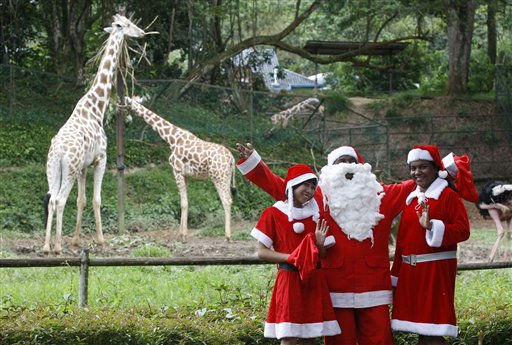 "<div class=""meta ""><span class=""caption-text "">Zee employees in Santa costume pose in front of giraffes at National Zoo in Kuala Lumpur, Malaysia, Saturday, Dec. 24, 2011. (AP Photo/Lai Seng Sin) (AP Photo/ Lai Seng Sin)</span></div>"