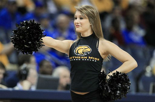 "<div class=""meta image-caption""><div class=""origin-logo origin-image ""><span></span></div><span class=""caption-text"">A Southern Mississippi cheerleader performs in the first half of an NCAA college basketball game between Southern Mississippi and Marshall at the Conference USA tournament on Friday, March 9, 2012, in Memphis, Tenn. ( (AP Photo/ Mark Humphrey)</span></div>"