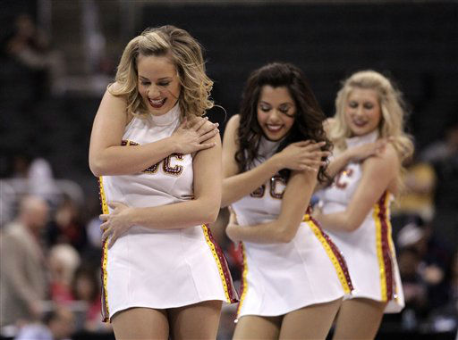 Southern California cheerleaders perform during the first half of an NCAA college basketball game against UCLA at the Pac-12 conference championship in Los Angeles, Wednesday, March 7, 2012.  <span class=meta>(AP Photo&#47; Jae C. Hong)</span>