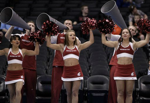 washington cheerleader during the first half of an NCAA college basketball game against Oregon State at the Pac-12 conference championship in Los Angeles, Wednesday, March 7, 2012.  <span class=meta>(AP Photo&#47; Jae Hong)</span>