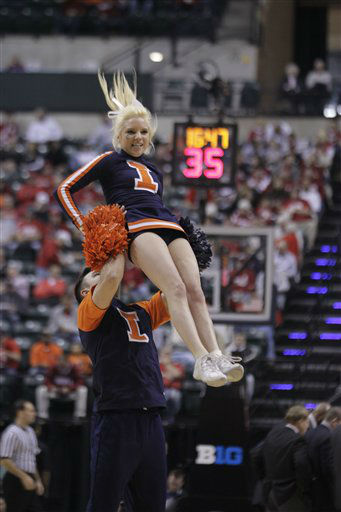 "<div class=""meta image-caption""><div class=""origin-logo origin-image ""><span></span></div><span class=""caption-text"">Illinois cheerleaders perform in the second half of an NCAA college basketball game between Illinois and Iowa at the first round of the Big Ten Conference tournament in Indianapolis, Thursday, March 8, 2012.  (AP Photo/ Michael Conroy)</span></div>"