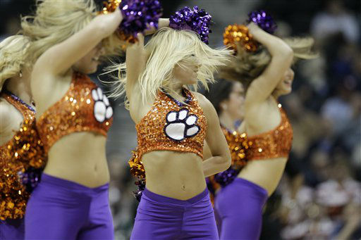 "<div class=""meta image-caption""><div class=""origin-logo origin-image ""><span></span></div><span class=""caption-text"">Clemson cheerleaders perform during the first half of an NCAA college basketball first round game against the Virginia Tech at the Atlantic Coast Conference tournament, Thursday, March 8, 2012, in Atlanta.  (AP Photo/ Chuck Burton)</span></div>"