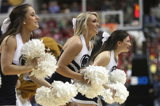 "<div class=""meta ""><span class=""caption-text "">Penn State cheerleaders perform in the second half of an NCAA college basketball game between Penn State and Indiana at the first round of the Big Ten Conference tournament in Indianapolis, Thursday, March 8, 2012.  (Photo/Kiichiro Sato)</span></div>"