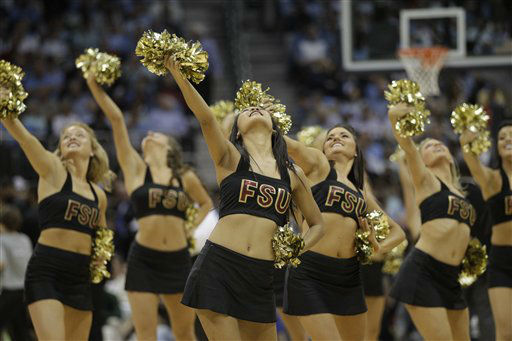"<div class=""meta ""><span class=""caption-text "">Florida State cheerleaders perform during the first half of an NCAA college basketball game against  Duke in the semifinals of the Atlantic Coast Conference tournament, Saturday, March 10, 2012, in Atlanta.  (AP Photo/ Chuck Burton)</span></div>"