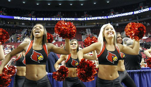 Louisville cheerleaders goes through a routine before their NCAA tournament second-round college basketball game against Davidson in Portland, Ore., Thursday, March 15, 2012. <span class=meta>(AP Photo&#47; Don Ryan)</span>