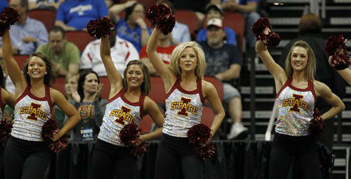 "<div class=""meta ""><span class=""caption-text "">Iowa State cheerleader perform in the first half of their NCAA tournament second-round college basketball game against Connecticut in Louisville, Ky., Thursday, March 15, 2012.  (AP Photo/ John Bazemore)</span></div>"