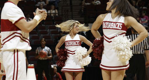 Arkansas cheerleaders during the first half of an NCAA tournament first-round college basketball game Saturday, March 17, 2012, in College Station, Texas.  <span class=meta>(AP Photo&#47; David J. Phillip)</span>