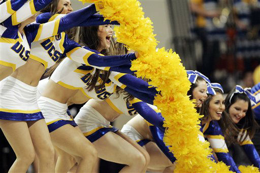 "<div class=""meta image-caption""><div class=""origin-logo origin-image ""><span></span></div><span class=""caption-text"">UC Santa Barbara cheerleaders perform, Sunday, March 18, 2012, during the second half of a first-round NCAA college basketball game against Baylor in Bowling Green, Ohio. Baylor won 81-40.  (AP Photo/ J.D. POOLEY)</span></div>"