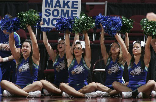 Florida Gulf Coast cheerleaders perform in the first half of an NCAA tournament first-round women&#39;s college basketball game against St. Bonaventure on Sunday, March 18, 2012, in Tallahassee, Fla. St. Bonaventure won 72-65 in overtime. <span class=meta>(AP Photo&#47; Phil Sears)</span>