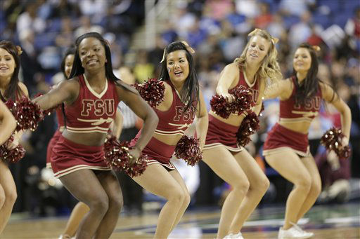Florida State cheerleaders perform during the second half of an NCAA college basketball game against Duke at the Atlantic Coast Conference tournament in Greensboro, N.C., Saturday, March 9, 2013. Duke won 72-66. &#40;AP Photo&#47;Chuck Burton&#41; <span class=meta>(AP Photo&#47; Chuck Burton)</span>