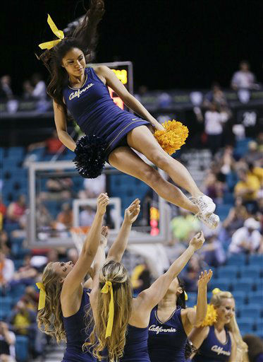 "<div class=""meta ""><span class=""caption-text "">California cheerleaders perform during a Pac-12 tournament NCAA college basketball game against Utah, Thursday, March 14, 2013, in Las Vegas. (AP Photo/Julie Jacobson)  (AP Photo/ Julie Jacobson)</span></div>"
