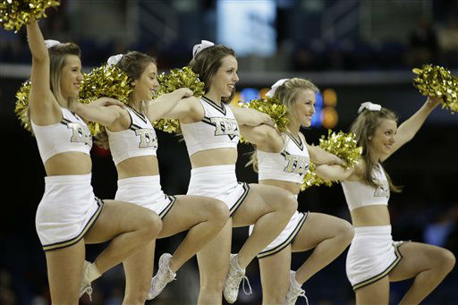 Georgia Tech cheerleaders perform during the first half of an NCAA college basketball game against Boston College at the Atlantic Coast Conference tournament in Greensboro, N.C., Thursday, March 14, 2013. &#40;AP Photo&#47;Bob Leverone&#41; <span class=meta>(AP Photo&#47; Bob Leverone)</span>