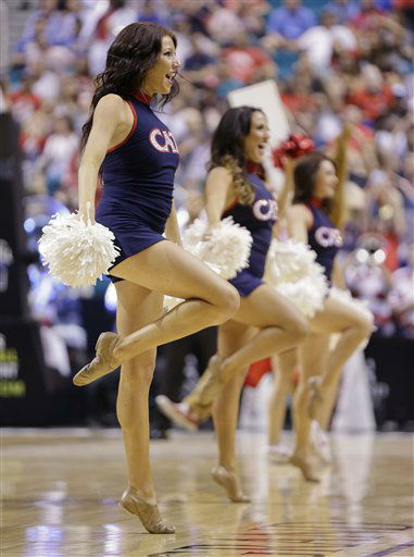 Arizona cheerleaders perform during a timeout against UCLA during a semifinal Pac-12 tournament NCAA college basketball game, Friday, March 15, 2013, in Las Vegas. &#40;AP Photo&#47;Julie Jacobson&#41;  <span class=meta>(AP Photo&#47; Julie Jacobson)</span>