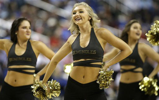 "<div class=""meta image-caption""><div class=""origin-logo origin-image ""><span></span></div><span class=""caption-text"">Florida State cheerleaders perform during the first half of an NCAA college basketball game against North Carolina  at the Atlantic Coast Conference tournament in Greensboro, N.C., Friday, March 15, 2013. (AP Photo/Bob Leverone) (AP Photo/ Bob Leverone)</span></div>"