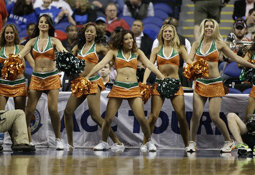 Miami cheerleaders perform during the first half of an NCAA college basketball game against Boston College at the Atlantic Coast Conference tournament in Greensboro, N.C., Friday, March 15, 2013. &#40;AP Photo&#47;Bob Leverone&#41; <span class=meta>(AP Photo&#47; Bob Leverone)</span>