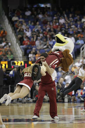 "<div class=""meta image-caption""><div class=""origin-logo origin-image ""><span></span></div><span class=""caption-text"">Boston College cheerleaders perform during the first half of an NCAA college basketball game against Miami  at the Atlantic Coast Conference tournament in Greensboro, N.C., Friday, March 15, 2013. (AP Photo/Bob Leverone) (AP Photo/ Bob Leverone)</span></div>"